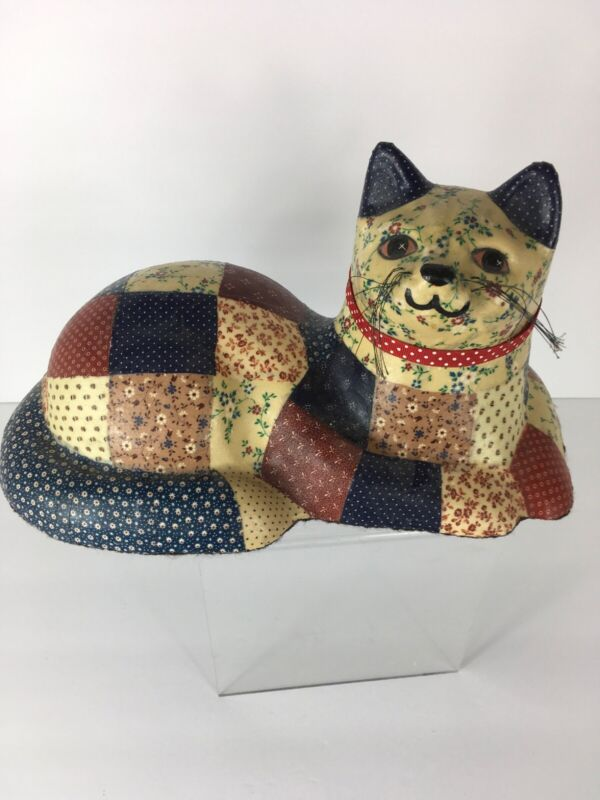 Vintage Country Quilted Decoupage Resin Resting Cat Doorstop W/Whiskers Resin?