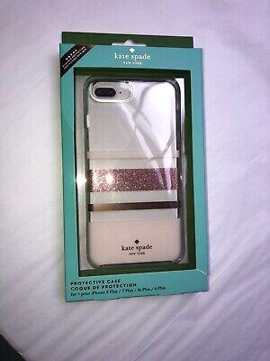Kate Spade protective iphone Case! Stripe Rose Gold Glitter/Blush/Clear!