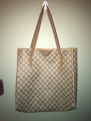 Vintage Gucci Shoulder Bag Shoppers Tote Supreme GG Monogram Brown 15""