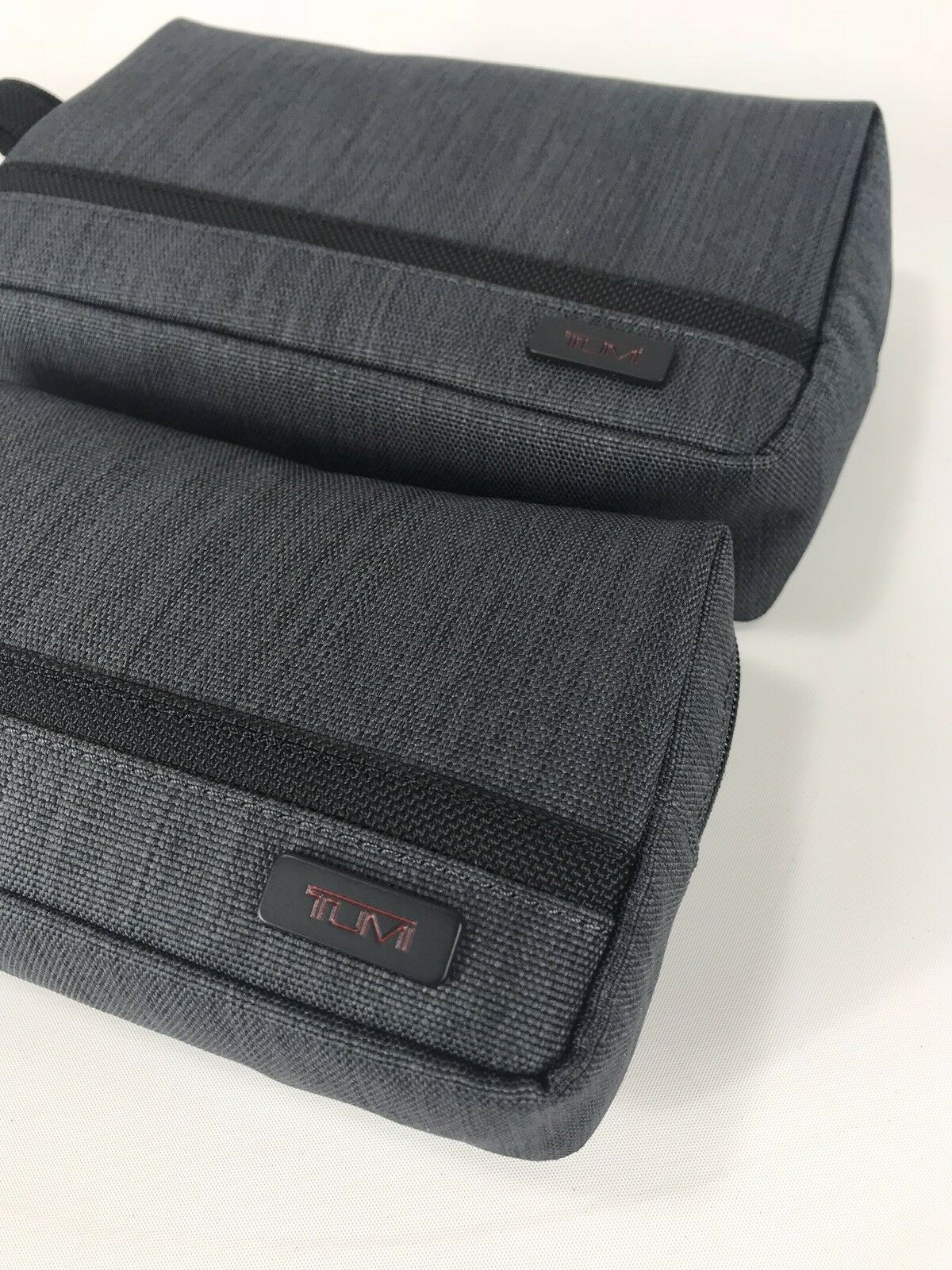 Tumi Small and Medium Travel Kit Zipper Cord Pouch Charcoal