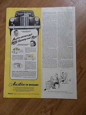 1950 Austin of England Automobile Ad 1950 Hugger America's Best Cap Value Ad