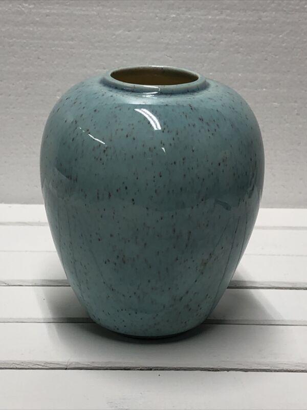Robins Egg Blue Speckled Ceramic Vase