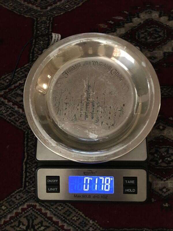 Franklin And Marshall College Solid Sterling Silver Plate 178 Grams Scrap Or No