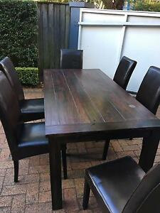 Dark solid wood dining table and 6 seats Northbridge Willoughby Area Preview