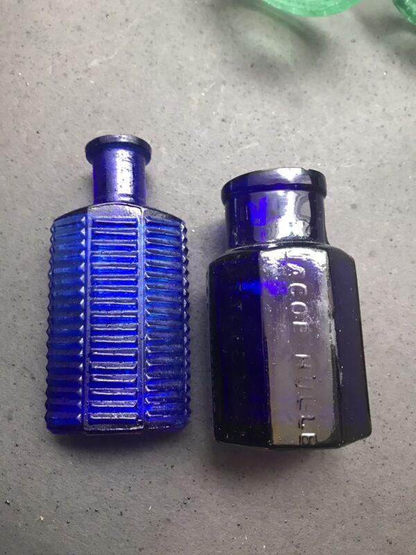 A11) Two Poison Bottles Jacob Hull & Ki-2 Ribbed 1 Oz.