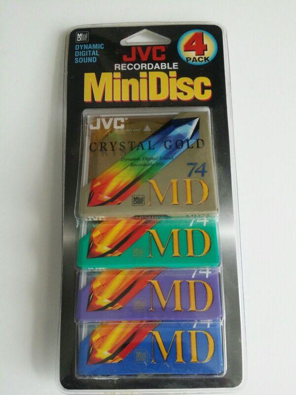 New JVC Recordable Mini Disc 74 MD 4 Pack Minidiscs