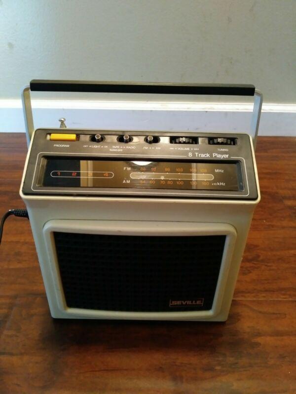 -VINTAGE SEVILLE PORTABLE AM/FM RADIO 8 TRACK PLAYER MODEL 5401 R8P