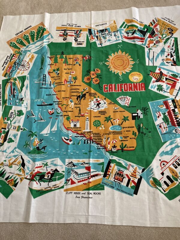 Vintage California Tablecloth Yucca Prints Unused Original Label