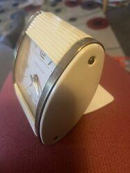 Beautiful Working Vintage 1950s Westclox Travel Alarm Clock w slide back cover