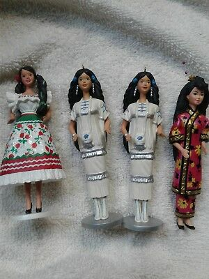 BARBIE Lot of 4 Dolls of the World 1996- 1998 Hallmark Christmas Ornament