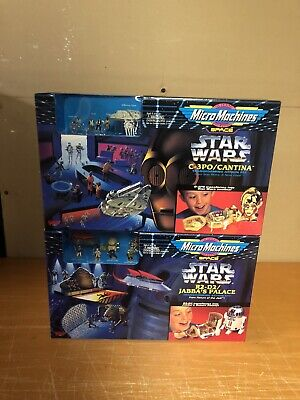 """Galoob Micro Machines Space Star Wars """"C-3PO/Cantina"""" & R2D2 Jabba's Playset"""