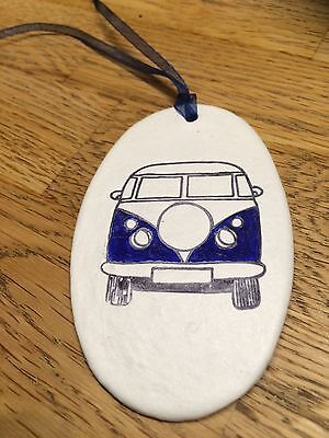 Beautiful Handmade Clay Hanging Dark Blue VW Camper Van Decoration/gift Tag New