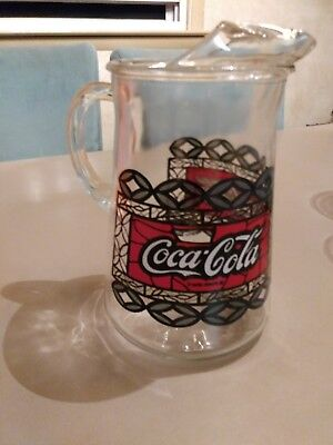 Vintage Coca Cola -Glass Pitcher Large  Tiffany Style Stained Glass STYLE NR