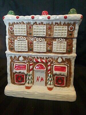 Vintage Ceramic Christmas colorful Gingerbread House Cookie Jar