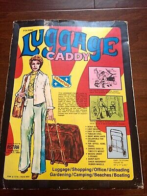 VINTAGE PRESTIGE LUGGAGE CADDY RETRO ADVERTISING BOX LADY IN BELL-BOTTOMS