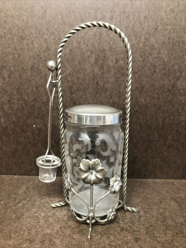 Vintage Etched Glass Pickle Castor With Stand And Tongs
