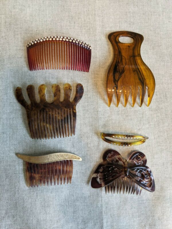 Antique Vintage Celluloid Collectable Ornate Hair Combs Haircomb Lot of 6