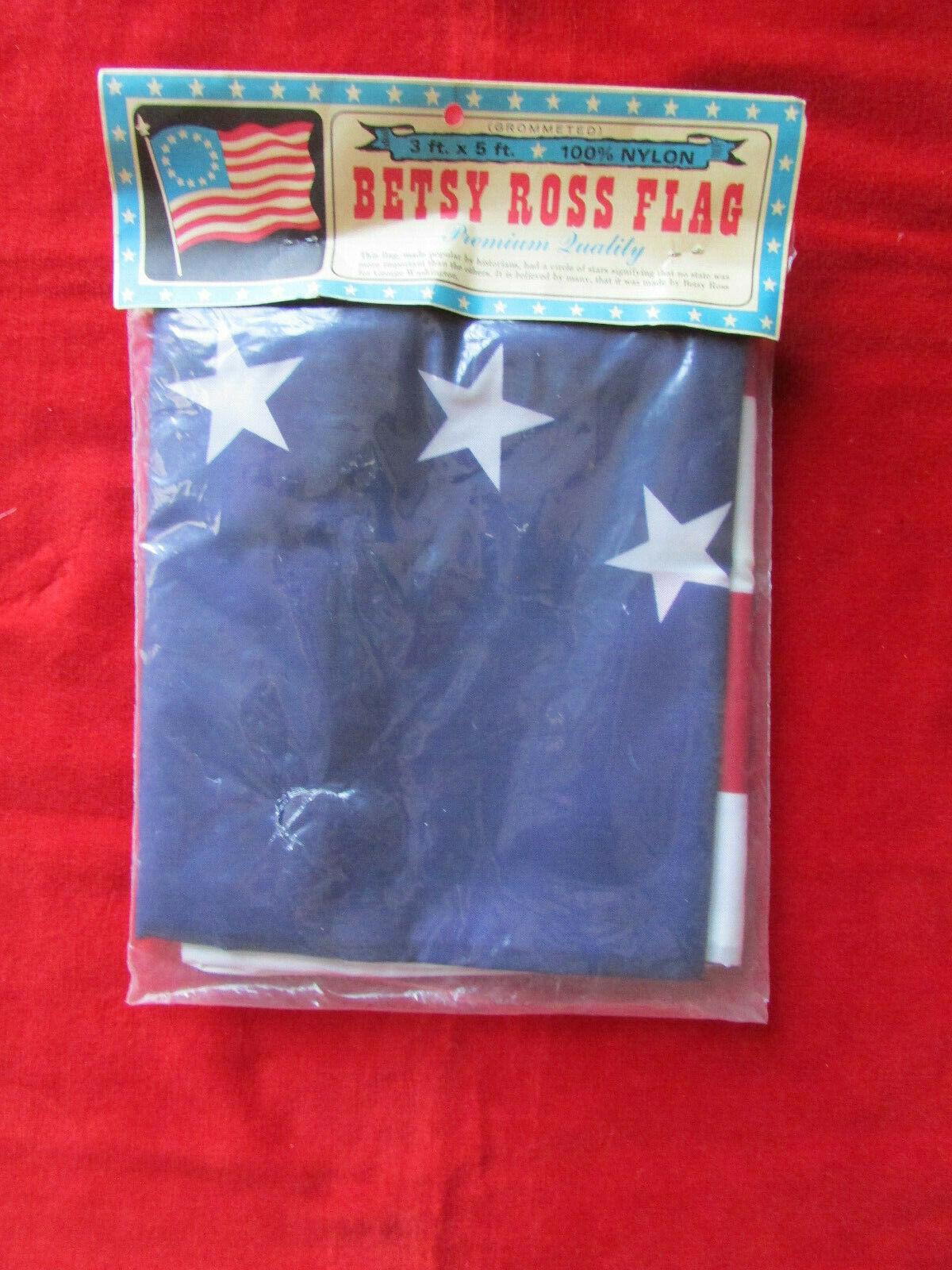 VINTAGE NOS Grommeted Nylon Betsy Ross Flag America 1776 3 x