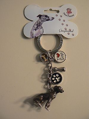 Little Gifts GREYHOUND KEYCHAIN - NEW with 4 extra charms - GREAT GIFT Dog Lover
