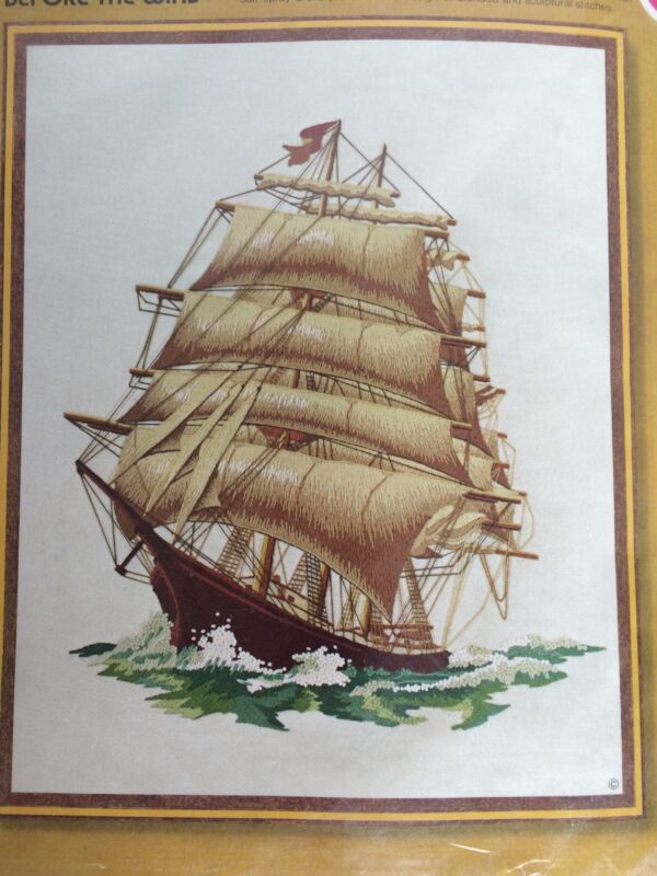 Before The Wind Sailing Ship Cross Stitch Kit Sunset Stitchery Sealed In Package