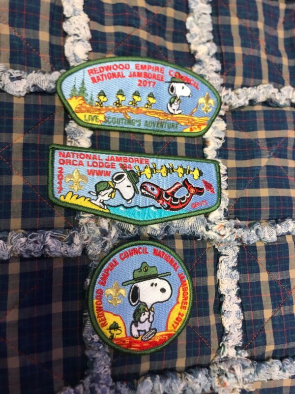2017 National Jamboree Peanuts Redwood Council Patch Set