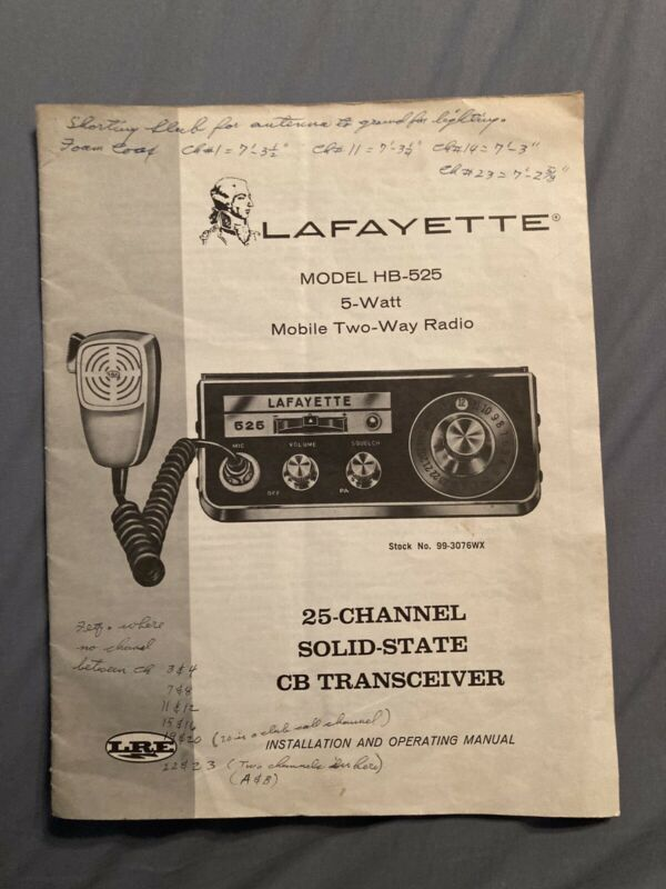 LAFAYETTE MODEL HB-525 CB RADIO OPERATING MANUAL