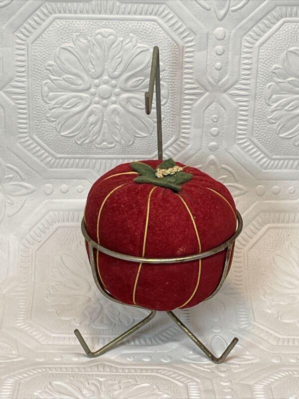 Vintage Sewing Velvet Pin Cushion Seamstress Type Thimble Holder Metal Stand
