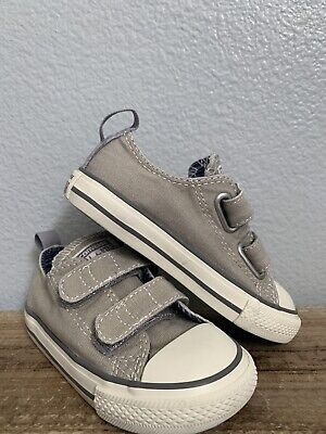Converse All Star Gray Hook/Loop Shoes Sneakers Toddler Size 7