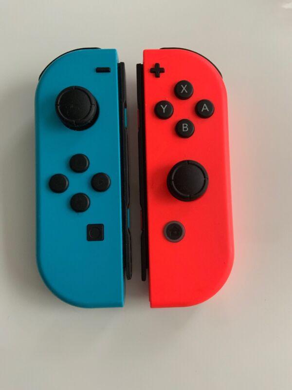 GENUINE Original Nintendo Switch Joy Con Controller Neon Blue & Red Scuffs****