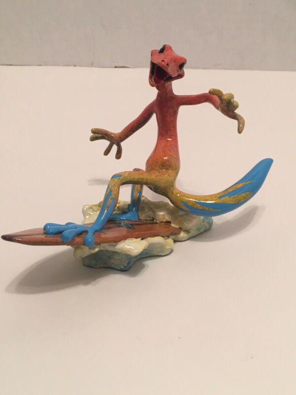 Kitty's Critters Dude Surfboard Gecko Reptile Lizard Figurine