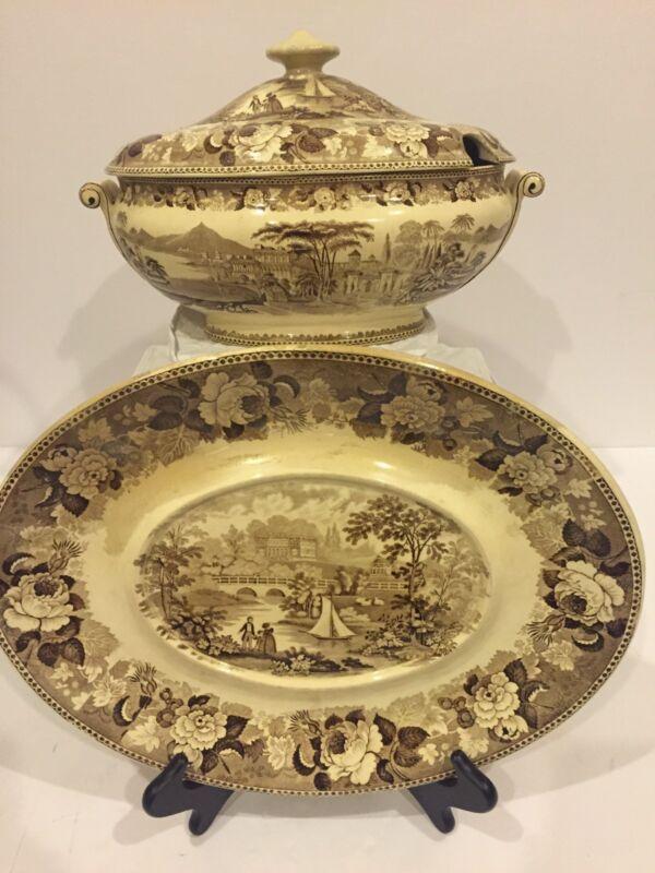 Antique Wedgwood Brown Transferware Scenic Romantic Tureen And Platter