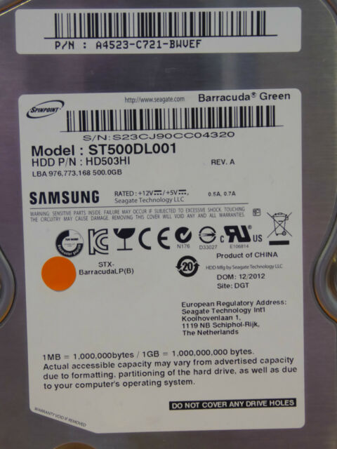 Samsung HD503HI, ST500DL001 / A4523-C721-BWVEF / 12.2012 - 500 GB disco rigido