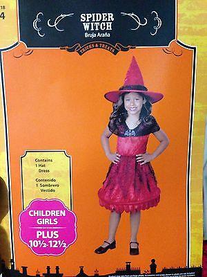 Halloween RED VELVET SPIDER WITCH SPIDER WEBS Costume Girls SIZE PLUS 10.5 /12.5