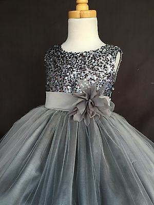 Charcoal NEW Flower Girl Bridesmaids Summer FL Sequence Toddler Girl Dress #18 (Charcoal Flower Girl Dresses)
