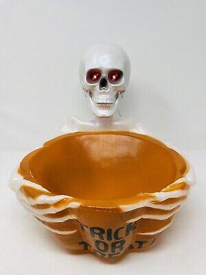Animated Halloween Talking Eyes Light-up Skeleton Blow Mold Candy Bowl Dish