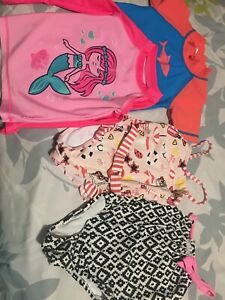 Size 2T bathing suits and swim shirts girls