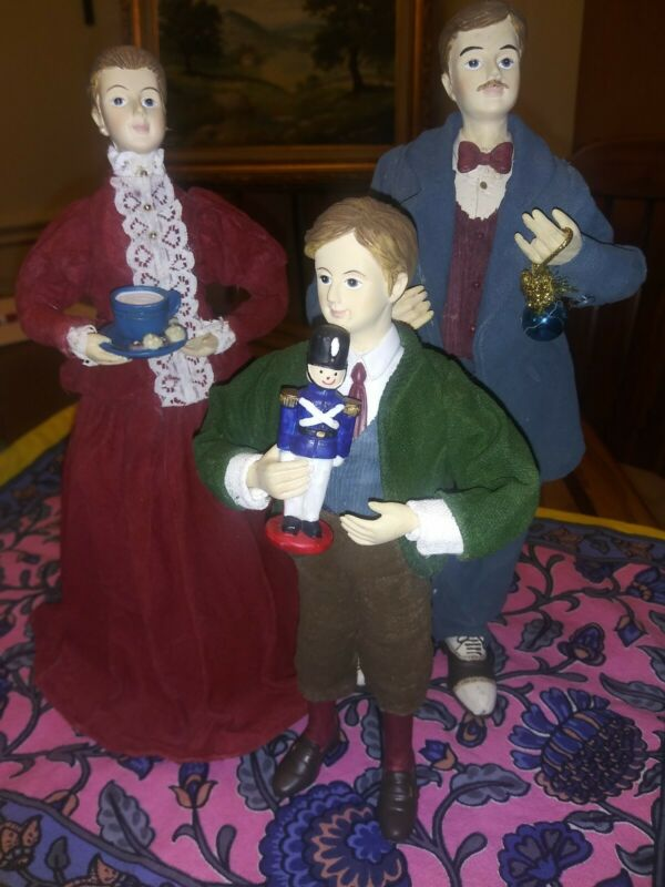 Lot 3 Family Christmas Dickens Victorian Style Family Figurines
