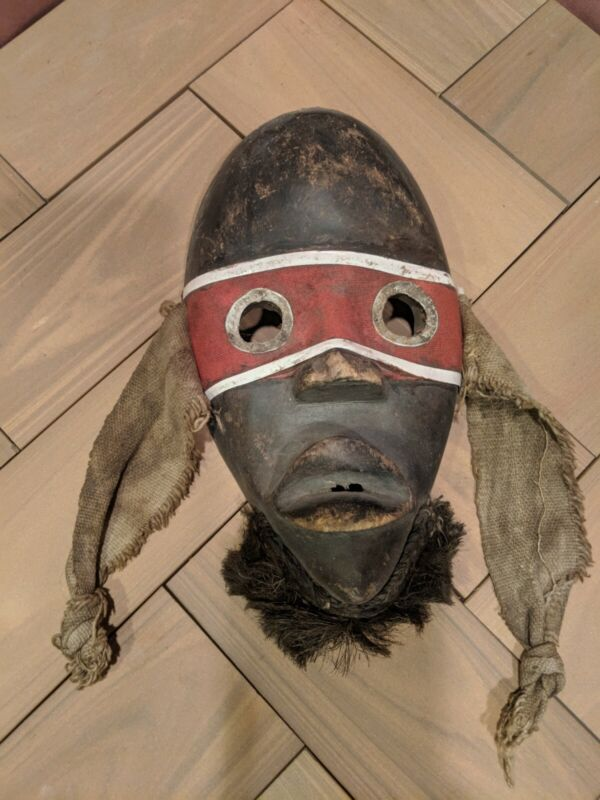 Dan Tribal Mask with Red Cloth Band — Authentic Hand Carved African Wood Art