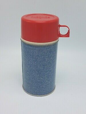 Vintage King Seeley Thermos Half Pint Blue Metal with Red Cup Free Priority Ship