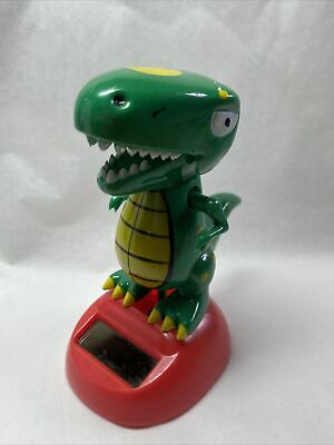 New - Solar Powered Dancing Toy Bobblehead Green T. Rex Dinosaur