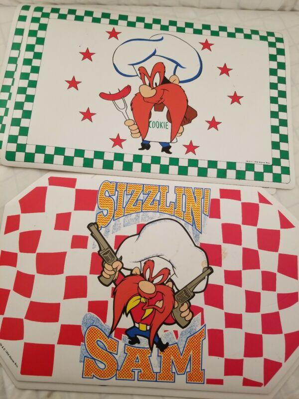 "4 Yosemite Sam Placemats 2 Sizzlin 2 cookie 1994 18""×12"""
