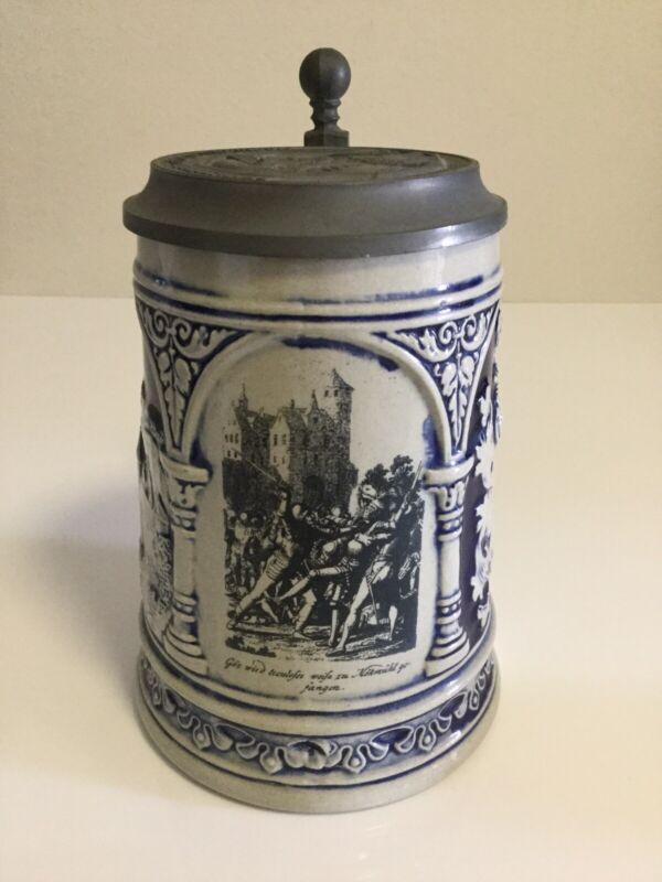 Rare Vintage Reichsritter Guts v. Berrlichingen 1480-1562 Lidded Beer Stein
