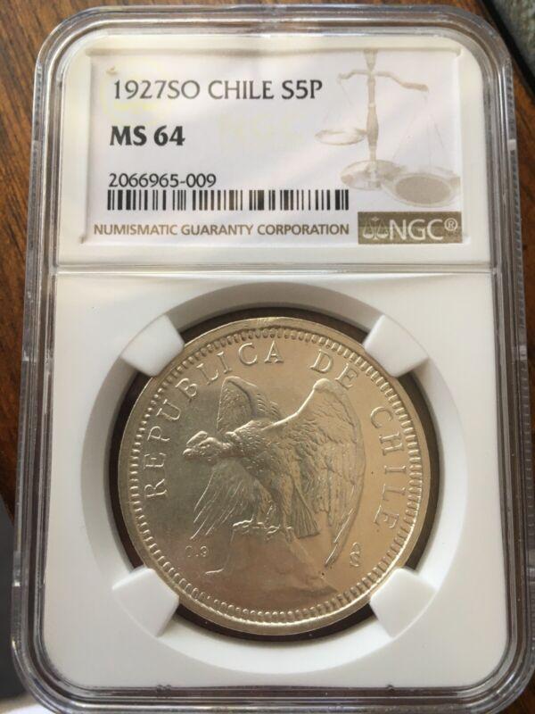 1927 Chile 5 Pesos NGC MS64
