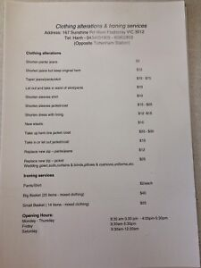 Clothing alterations and ironing services