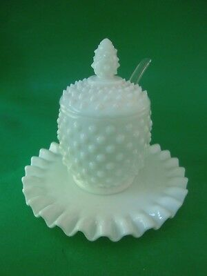 Vintage Fenton Hobnail Milk Glass Jam Jelly Jar, Spoon & Underplate Excellent