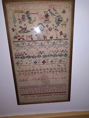 Antique Early Sampler Of Lots OF Stiching Examples, Framed w/Glass