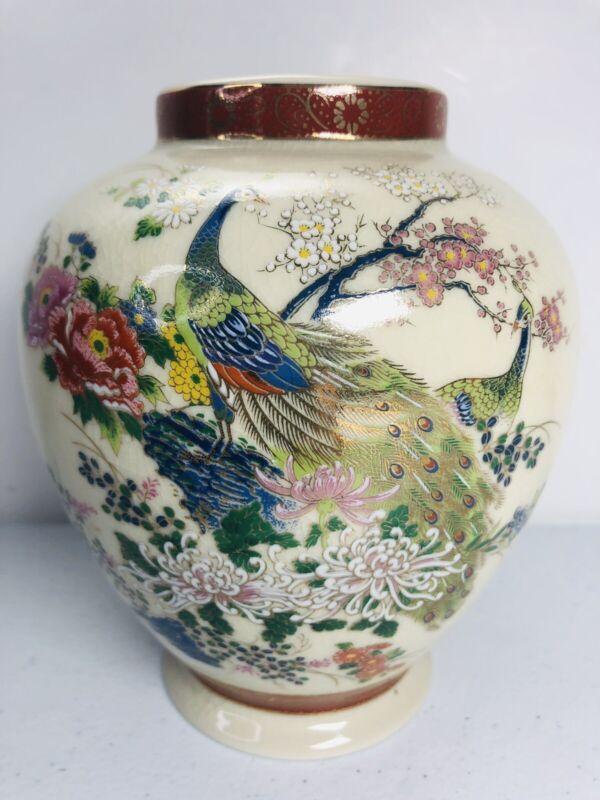 """Satsuma Vase Double Peacock Vtg Crackle Mums Floral Ginger Jar Japan 6"""" Tall"""
