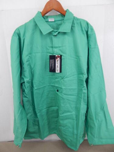BEST WELDS FR COTTON SATEEN WELDING JACKET XL SNAP CLOSURES VISUAL GREEN