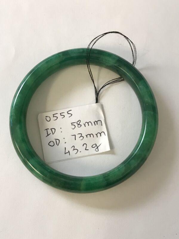 Vintage Translucent Natural Green Jadeite Jade Bangle Bracelet 58MM ID.