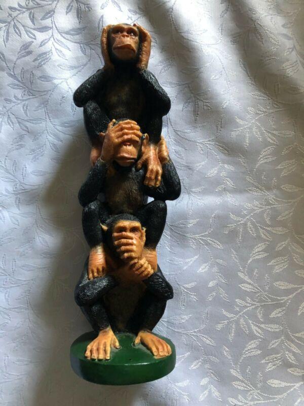 "Collek Monkeys Wise Monkeys Hear See Say No Evil Figure 10"" Rare"